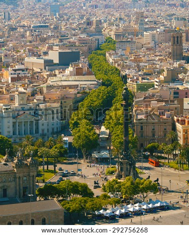 Ramblas pedestrian street in the center of Barcelona. Landmark of Barcelona. Airview on the Rambla. - stock photo