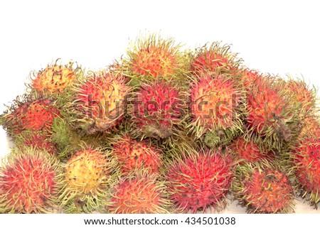 rambutan sweet delicious of fresh Thai rambutans. rambutan pattern on White background - stock photo