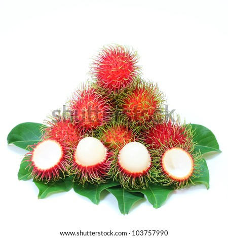 Rambutan Thai with leaves isolated on white background - stock photo