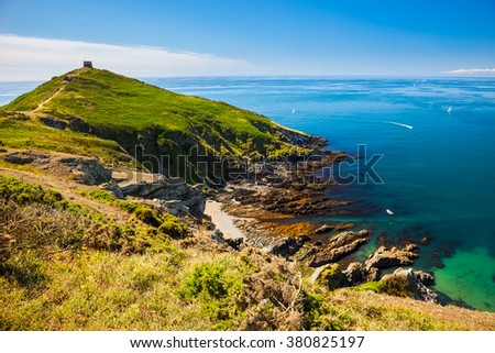 Rame Head at the start of Whitsand Bay as seen from the coast path. Cornwall England UK