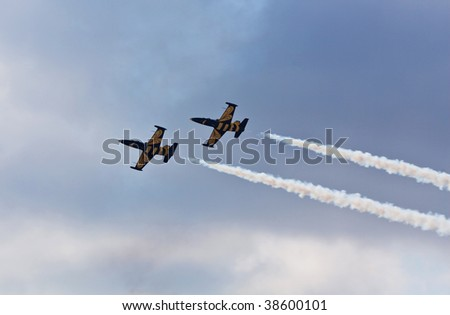 RAMENSKOE, RUSSIA - AUGUST 22, 2009: Aerobatic team in action during Airshow MAKS in Moscow Region.