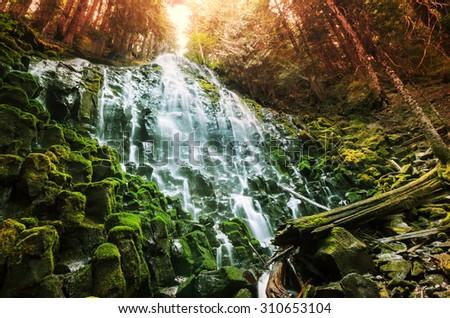 Ramona falls in Oregon,USA - stock photo