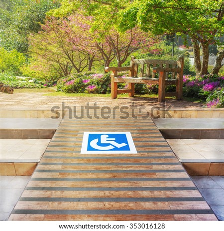 Ramp for the disabled on the garden. - stock photo