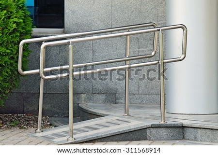 Ramp for wheelchair entry - stock photo