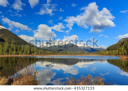 Rampart Pond near Saskatchewan area in Rocky Mountains, Alberta, Canada