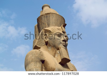 Ramses satue in Luxor - stock photo