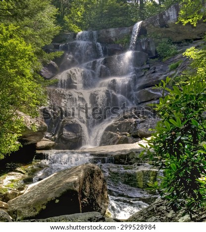 Ramsey Cascades Waterfall in the Great Smokey Mountains National Park, Tennessee. - stock photo