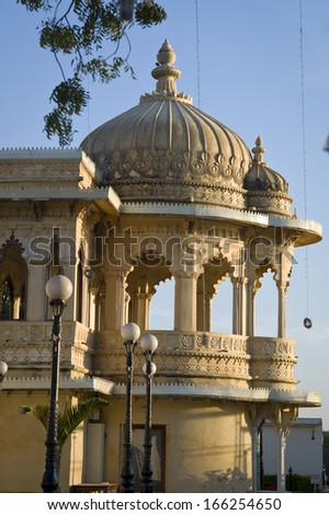 RANAKPUR, INDIA - JAN 26: The beautiful Ranakpur Jain Temple built by white marble on January 26, 2013 in Ranakpur, Rajasthan, India. Jain is a religion in India.   - stock photo