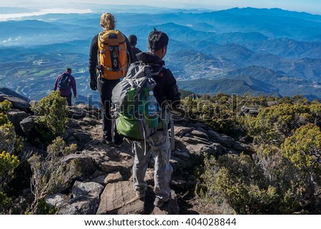 Ranau,Sabah,Malaysia-March 13,2016: Unidentified group of climber move down to Laban Rata after successfully conquering the summit of mountain Kinabalu.