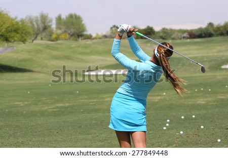 RANCHO MIRAGE, CALIFORNIA - APRIL 01, 2015 : Alison Lee of USA at the ANA inspiration golf tournament on LPGA Tour, April 01, 2015 at The Mission Hills country club, Rancho Mirage, California - stock photo
