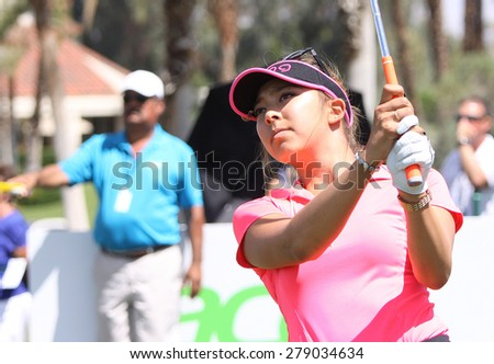 RANCHO MIRAGE, CALIFORNIA - APRIL 04, 2015 : Alison Lee of USA at the ANA inspiration golf tournament on LPGA Tour, April 04, 2015 at The Mission Hills country club, Rancho Mirage, California - stock photo