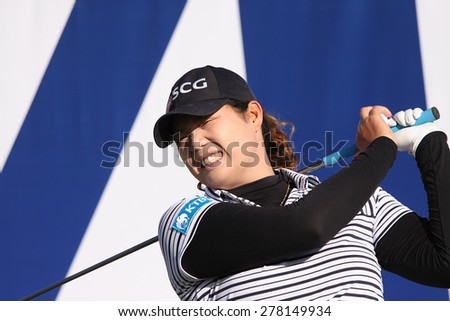 RANCHO MIRAGE, CALIFORNIA - APRIL 01, 2015 : Ariya Jutanugarn of thailand at the ANA inspiration golf tournament on LPGA Tour, April 01, 2015 at The Mission Hills country club, Rancho Mirage, CA.