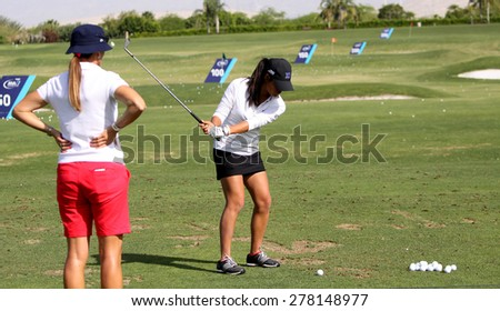 RANCHO MIRAGE, CALIFORNIA - APRIL 01, 2015 : Celine Boutier and patricia meunier-lebouc at the ANA inspiration tournament on LPGA Tour, April 01, 2015 at The Mission Hills club, Rancho Mirage, CA