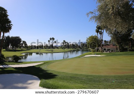 RANCHO MIRAGE, CALIFORNIA - APRIL 03, 2015 : golf course view at the ANA inspiration golf tournament on LPGA Tour, April 03, 2015 at The Mission Hills country club, Rancho Mirage, California