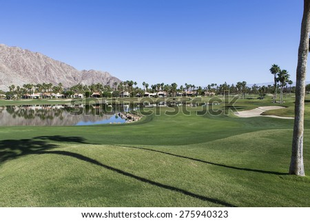 RANCHO MIRAGE, CALIFORNIA - APRIL 04, 2015 : View of golf course at the ANA inspiration golf tournament on LPGA Tour, April 04, 2015, Rancho Mirage golf course, California, USA.