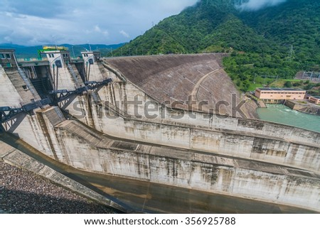 Randenigala water dam in Badulla, Sri Lanka, which generates most of the power to the country - stock photo