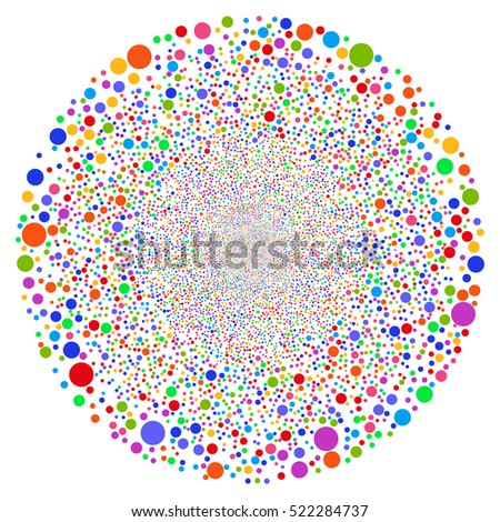 Random Ball Sphere raster illustration. Style is bright multicolored flat bubbles, white background.