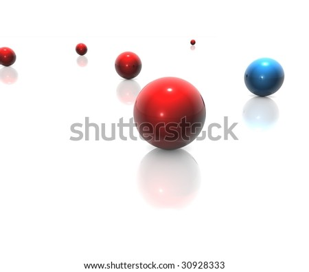 random balls in blue and red - stock photo