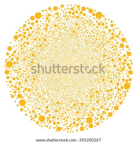Random Bubble Sphere glyph illustration. Style is yellow flat bubbles, white background.