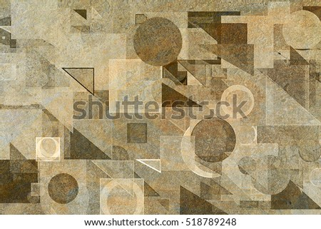 Random circle, square, rectangle & triangle shape, digital generative art for design texture & background, grunge & rough