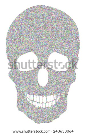 random colored rounded square dots human skull - stock photo