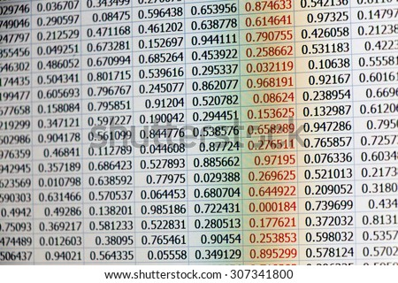 Random data as numbers on tables captured from a laptop screen with warm color tone and a column of data with numbers colored in red - stock photo