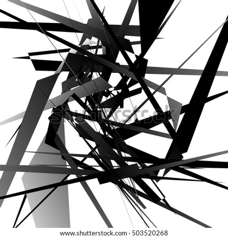 Random edgy, dynamic lines. Geometric monochrome art.
