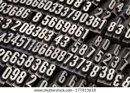 random numbers in vintage, grunge, dusty metal letterpress printing blocks