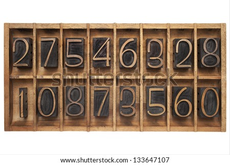 random numbers (letterpress wood type blocks) in vintage typesetter drawer