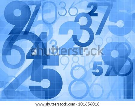 random numbers modern blue background illustration - stock photo