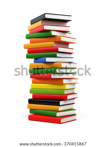 Randomly placed colourful books forming a huge tower of books. The covers of books are coloured in red, yellow, blue, green and black. .Isolated on white background. Clipping path included.