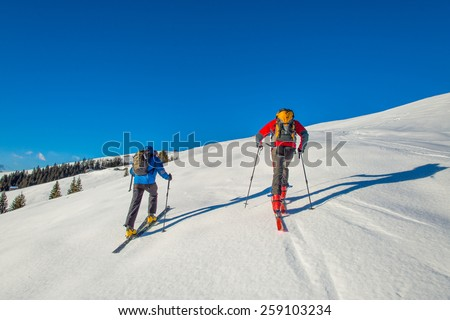 Randonnee ski trails - stock photo