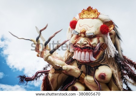 Rangda - traditional demon ogoh-ogoh at ritual night parade of terrible monsters - pengrupukan, which is held in evening of Nyepi - Balinese New Year before day of silence on Bali island. - stock photo