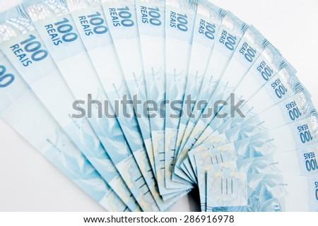 Range of Brazilian 100 currency . - stock photo