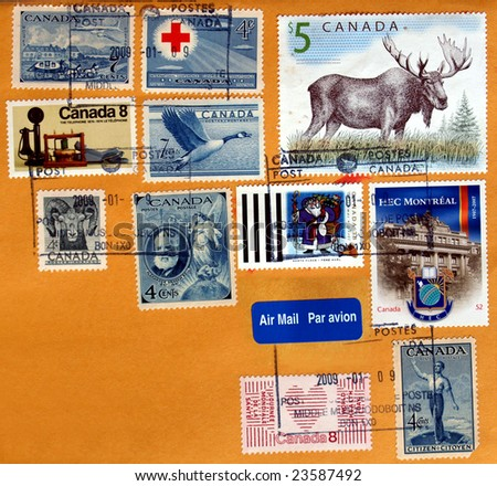 Range of Canadian postage stamps from Canada - stock photo