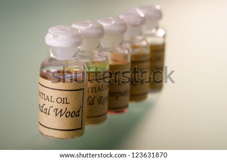 Range of different essential oils assortment - stock photo