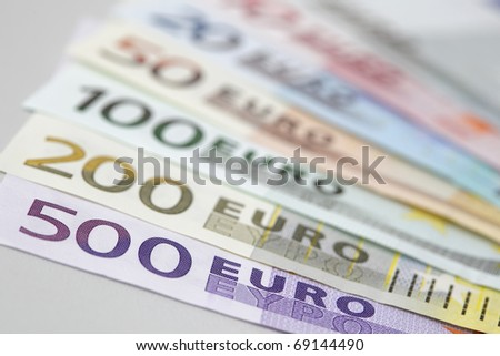 Range of Euro bank notes