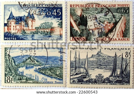 Range of French postage stamps