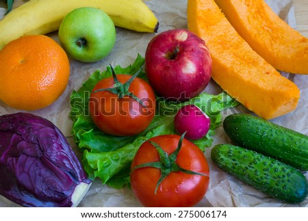 range of fruit and vegetables - stock photo