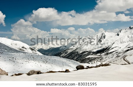 range of mountains in sichuan province, china - stock photo