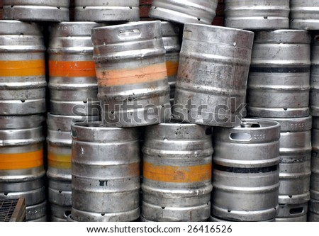 Range of stacked beer casks of kegs - stock photo