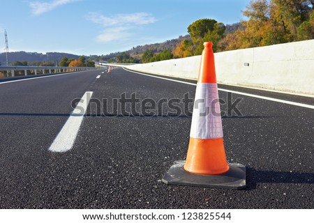 Range of traffic cones for road works on a speedway