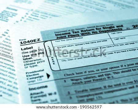 Range of various blank USA tax forms - cool cyanotype