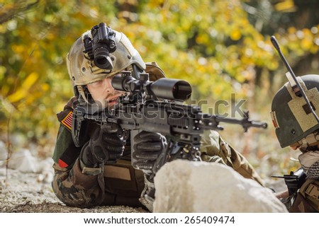 Ranger aim at a target of weapons