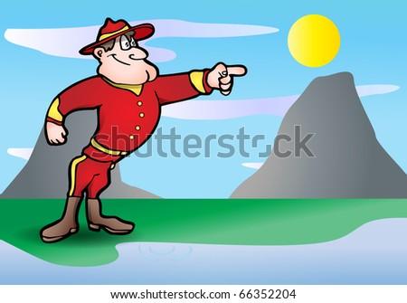 ranger policeman point at something on nature background illustration - stock photo