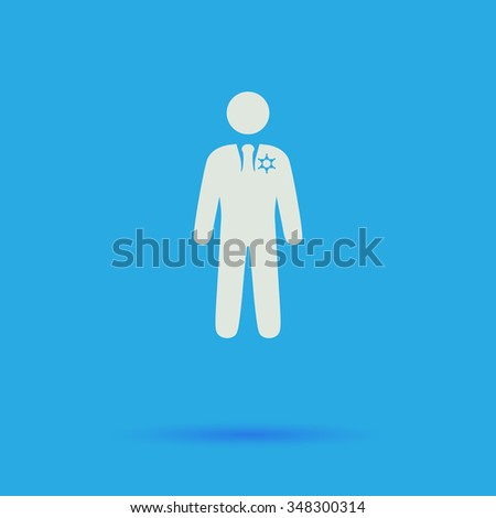 ranger White flat simple pictogram on blue background with shadow  - stock photo