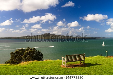 Rangitoto Island and Hauraki Gulf from Devonport, Auckland, New Zealand