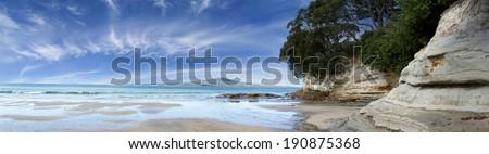 Rangitoto Island in the Hauraki Gulf, Auckland, New Zealand.  - stock photo