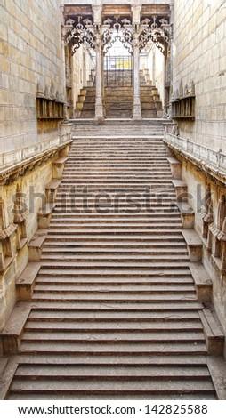 Raniji ki Baori step wells. Bundi, Rajasthan, India. - stock photo