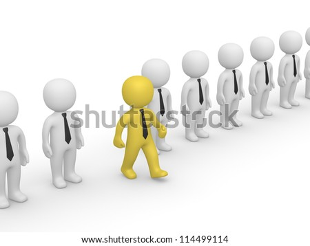 Rank of 3d people with one going out. Second frame of simple animation. - stock photo